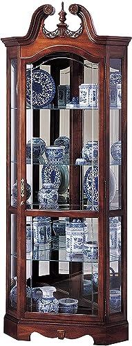 Howard Miller Berkshire Corner Curio Cabinet 680-205 Windsor Cherry Glass Display Shelf Case with Light