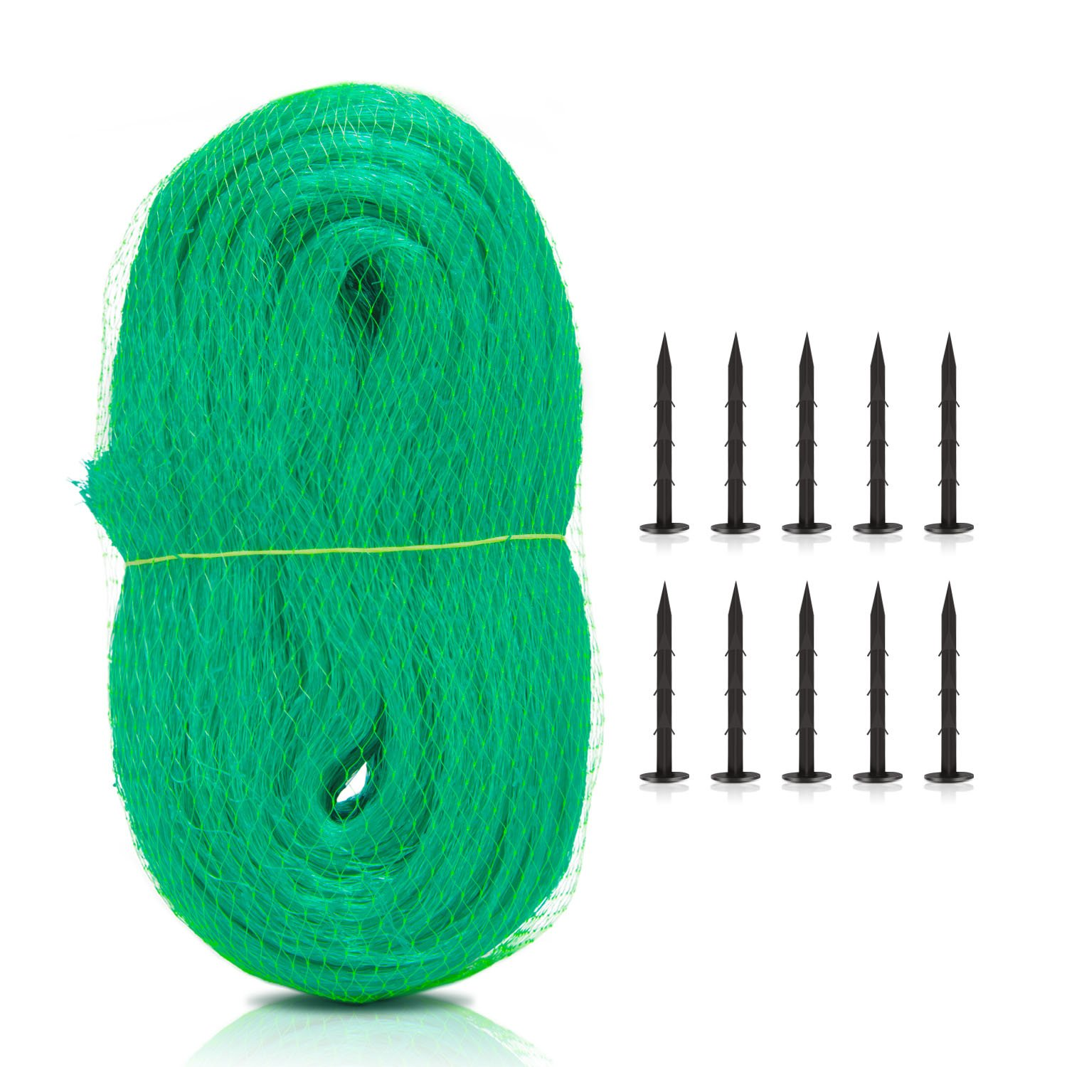 Deyard 33 x 13 Ft Green PE Material Anti-Bird Net Protect Plant Garden Fruits Fencing Mesh Protect Fruits from Birds with 10pcs Nails