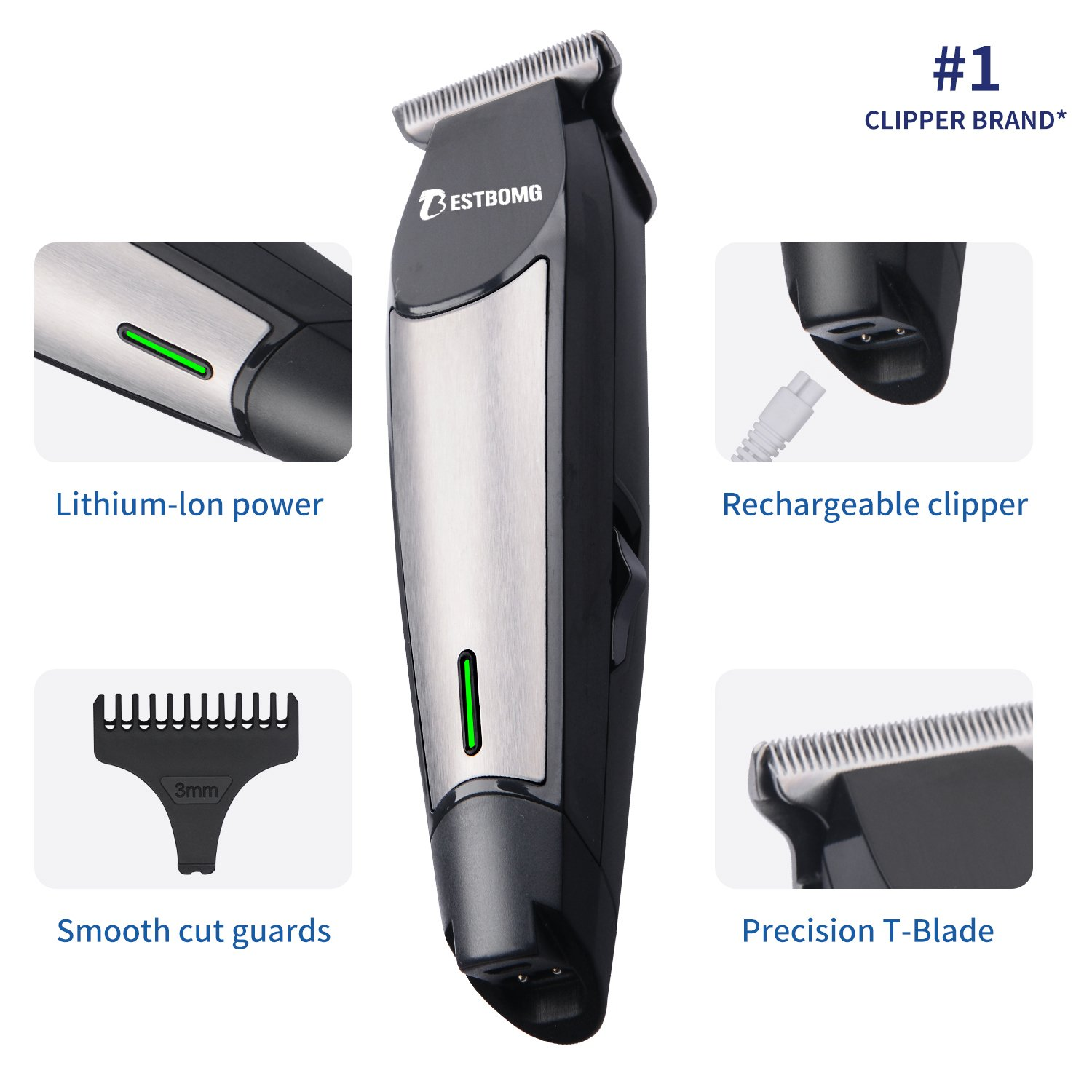 Pro Outliner Hair Bear Trimmer with T-Blade, BESTGOMG Cordless Hair Beard Mustache Body Grooming Kit with USB Rechargeable Lithium Ion and LED Display, for Contouring, Shaving, Sculpting, and Trimming