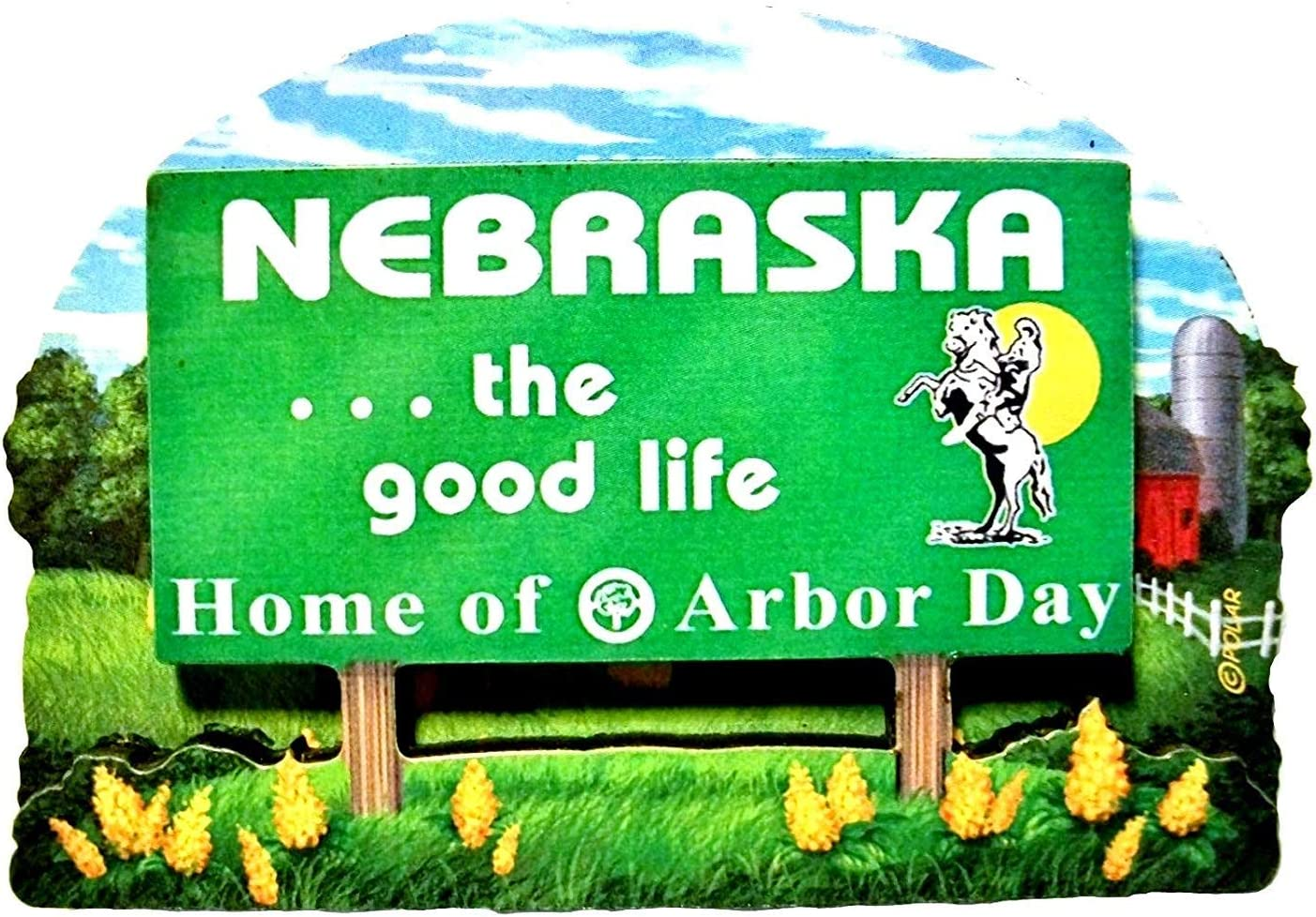 Nebraska State Welcome Sign Wood Fridge Magnet 2
