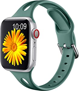 Getino Slim Sport Band Compatible for Apple Watch 40mm 38mm Bands iWatch Series 6 5 4 3 2 1 SE for Women Men, Pine Green