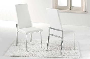 Silla de comedor tapizada modelo VERONA color blanco - Sedutahome