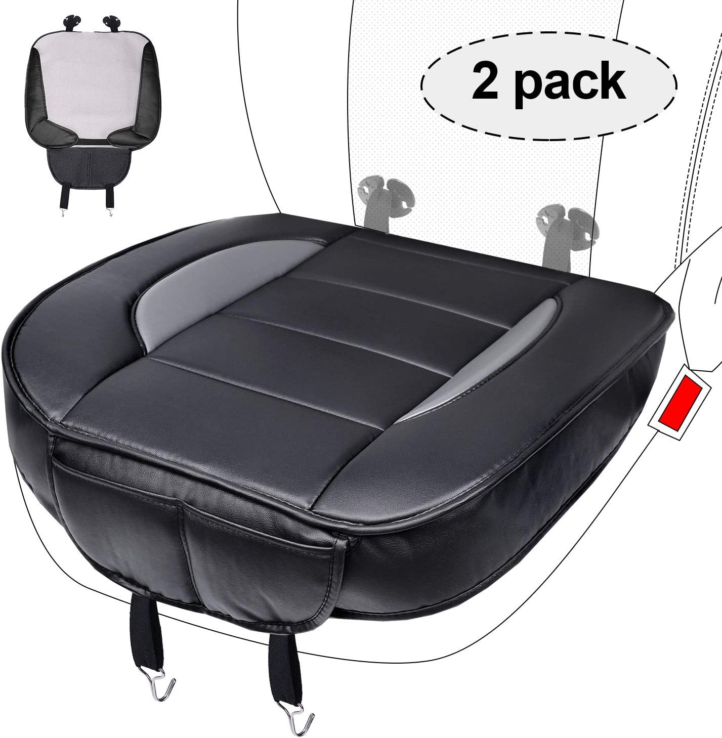 "Car Seat Cushion Cover PU Breathable 2pc Car Interior Black with Gray Universal Seat Cover 0.5"" Thickness for Sedan Truck SUV Minivan Edge Wrapping"