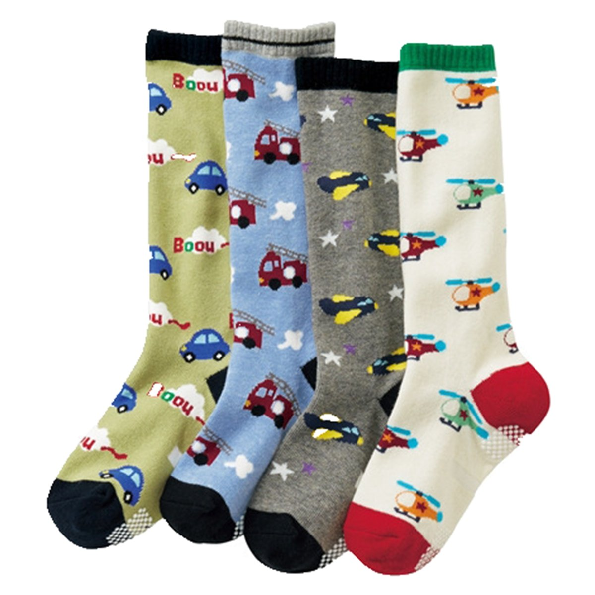 Baby Boys Non Skid Chopper Cotton Toddler Socks Soft Knee High Socks 4-Pairs
