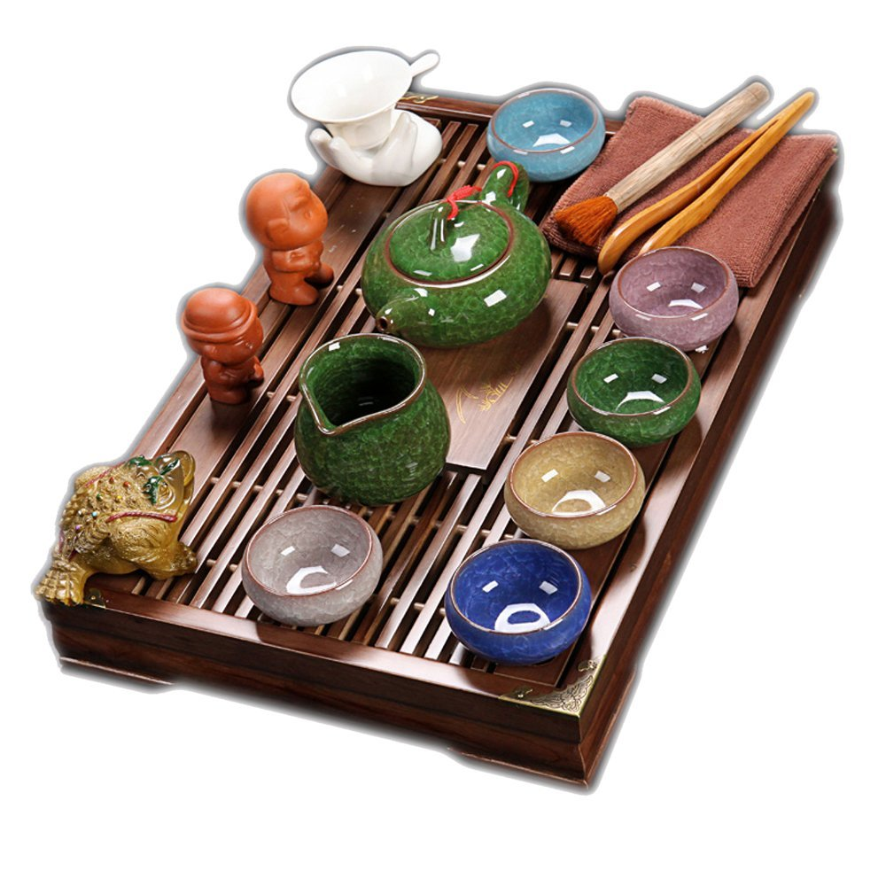 Chinese Ceramic Kung Fu Tea Set With Wood Tea Tray,Vintage Tea Set Multicolor Tea Set,For Household,Office Ufingo