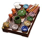ufengke®Exquisite Ceramic Porcelain kungfu Tea Cup Set with Lid and Wooden Tea Tray-A