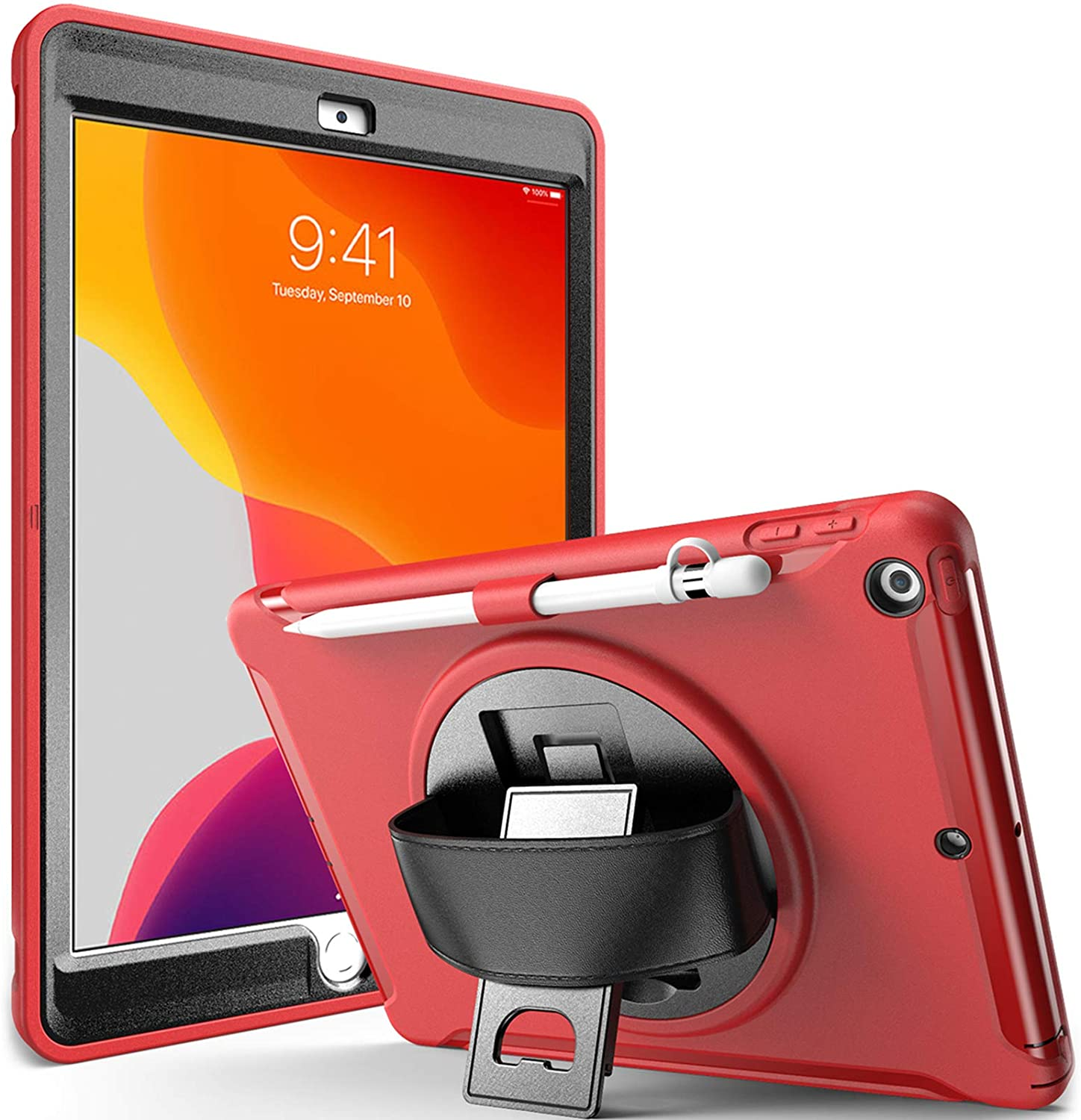 """ProCase iPad 10.2 Case 2020 8th Generation / 2019 7th Generation iPad Case, Rugged Heavy Duty Shockproof Cover Case with Handle and Rotating Kickstand for iPad 10.2"""" iPad 8 / iPad 7 -Red"""