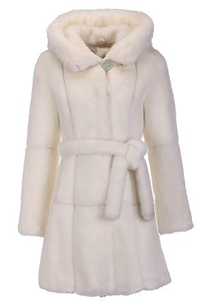 ENJOYFUR Enjoy Fur Women s White Knee Length Mink Faux Fur Coat With ... 022a11a47094