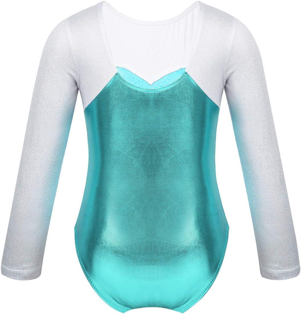 Agoky Kids Girls Long Sleeves Sparkly Rhinestone Metallic Splice Ballet Dance Gymnastics Leotard Jumpsuit
