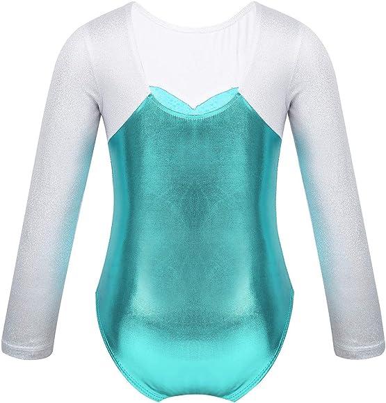 YOOJIA Girls Snow Queen Mermaid Sparkle Long Sleeve Gymnastic Athletic Dancing Leotard Ballet Dance wear Costumes