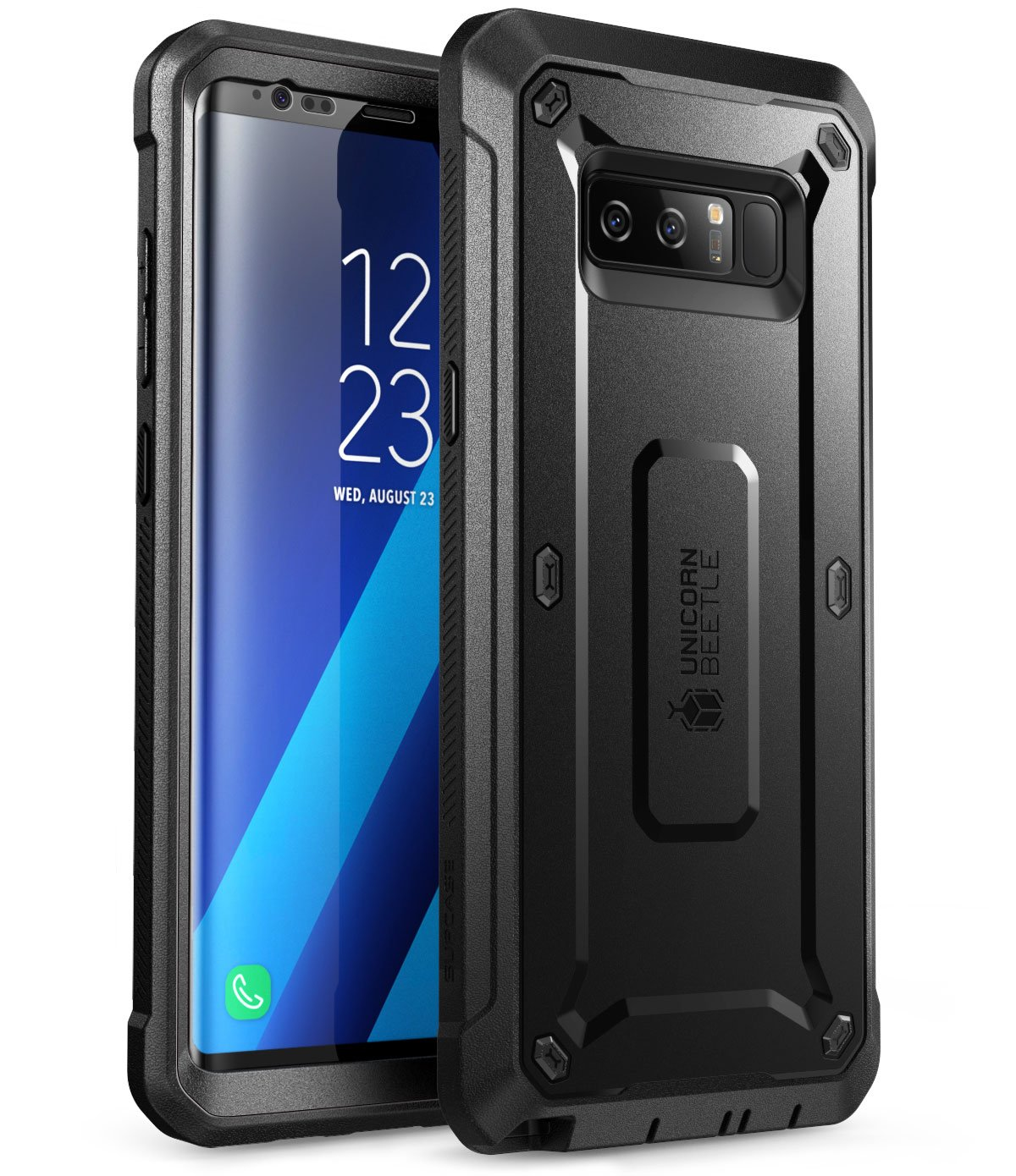 Samsung Galaxy Note 8 Case, SUPCASE Full-Body Rugged Holster Case with Built-in Screen Protector for Galaxy Note 8 (2017 Release), Unicorn Beetle Shield Series - Retail Package (Black/Black)
