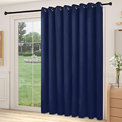 Buy Yiumula Blackout Sliding Glass Door Curtains Thermal Insulated Window Treatment Drapes For Patio Doors Grommet Extra Wide Curtain Panels For Living Room Bedroom 1 Panel Navy Blue 100w X 84l Online