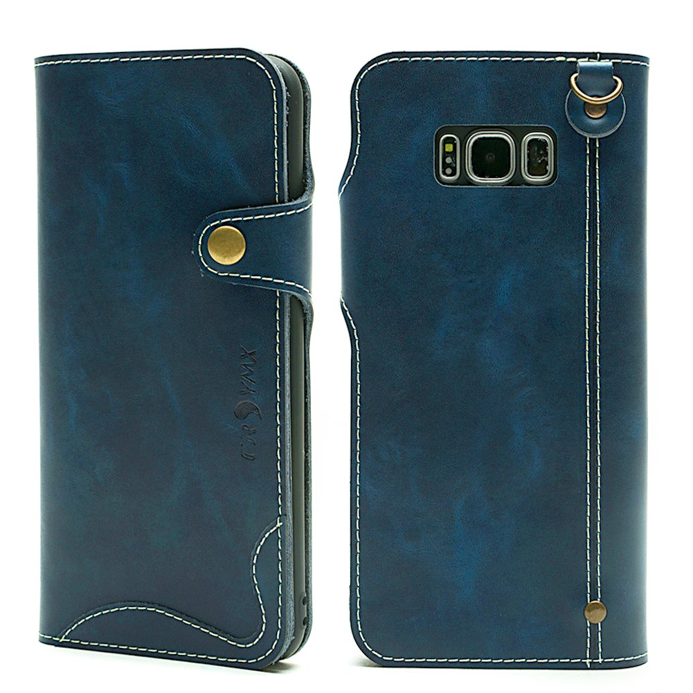 Galaxy S8 Plus Wallet Leather Case, Genuine Leather Folio Flip Book Design Cover with Card Slot, Cash Clip, Magnetic Closure and Hand Strap for Samsung Galaxy S8 Plus - Blue