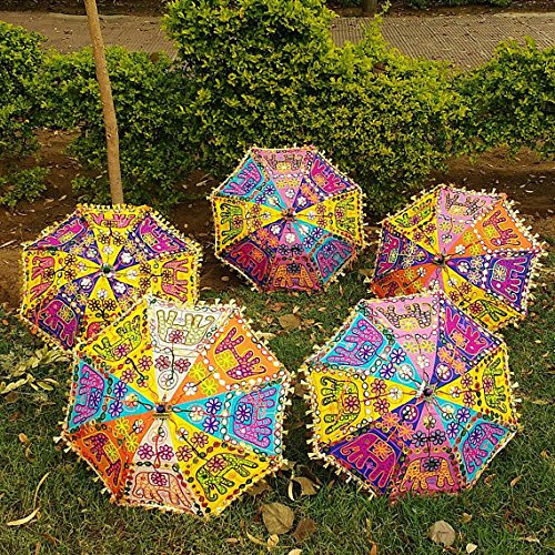 10 Pcs Lot Indian Wedding Umbrella Decoration Handmade embroidery Elephant Umbrella Decorations Mirror Work Vintage Parasols Cotton Umbrellas