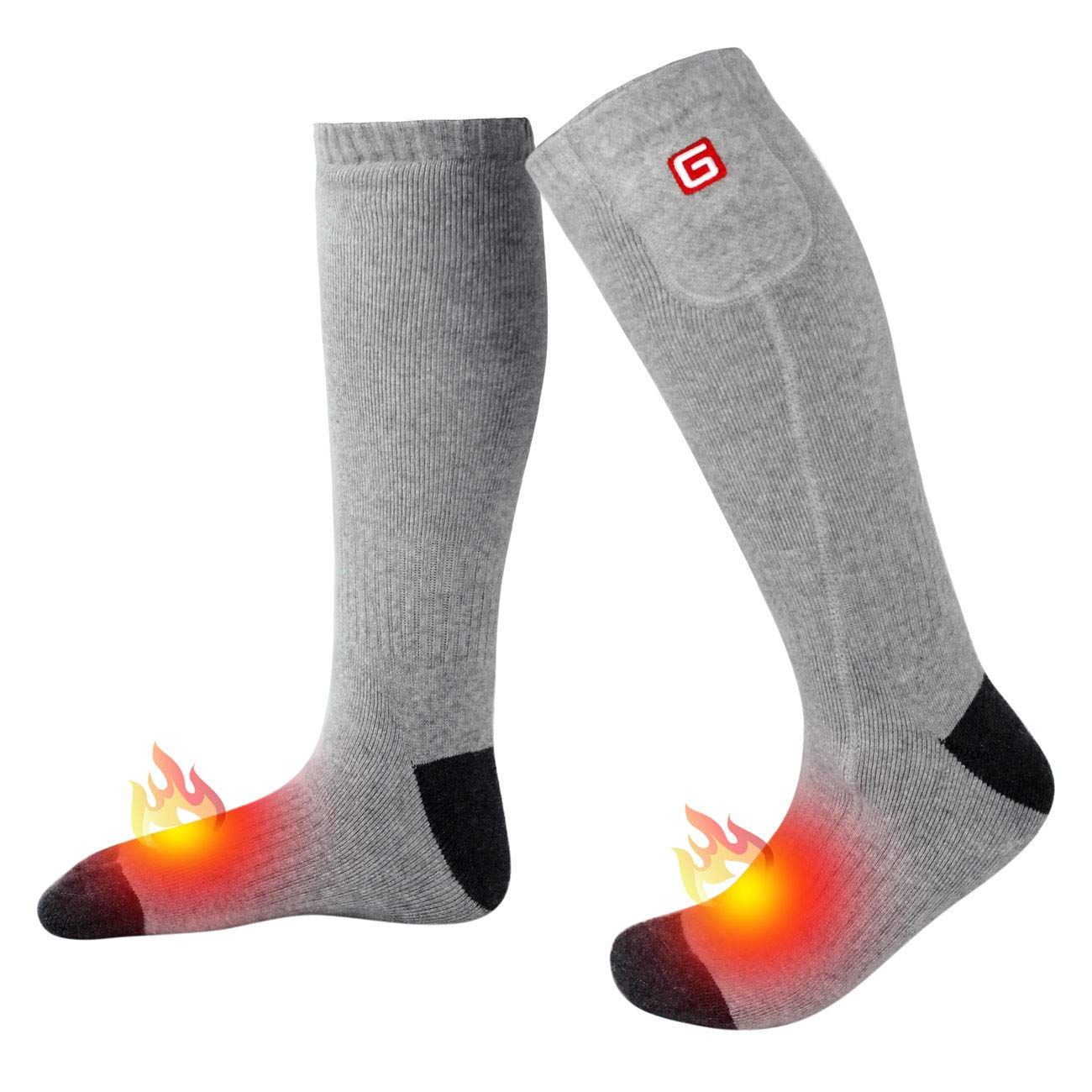 Electric Heated Socks for Men Thermal Socks Rechargeable Battery Foot Warmers Winter Ideal Presents for Men Women Perfect for Indoor Outdoor Sport Fishing/Hiking/Sleeping (Gray-Large) by MMlove