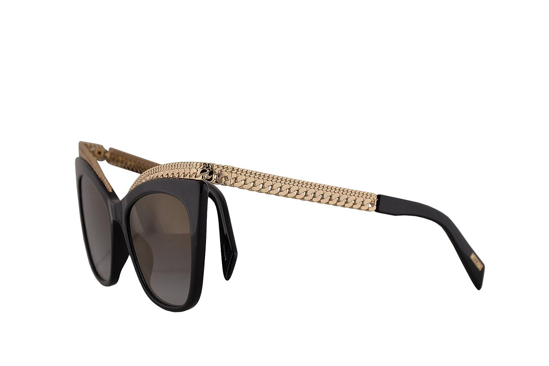 076295d810 Amazon.com  Moschino MOS009 S Sunglasses Black w Gold Mirror Lens 52mm  807FQ MOS 009S MOS 009 S MOS009S  Clothing