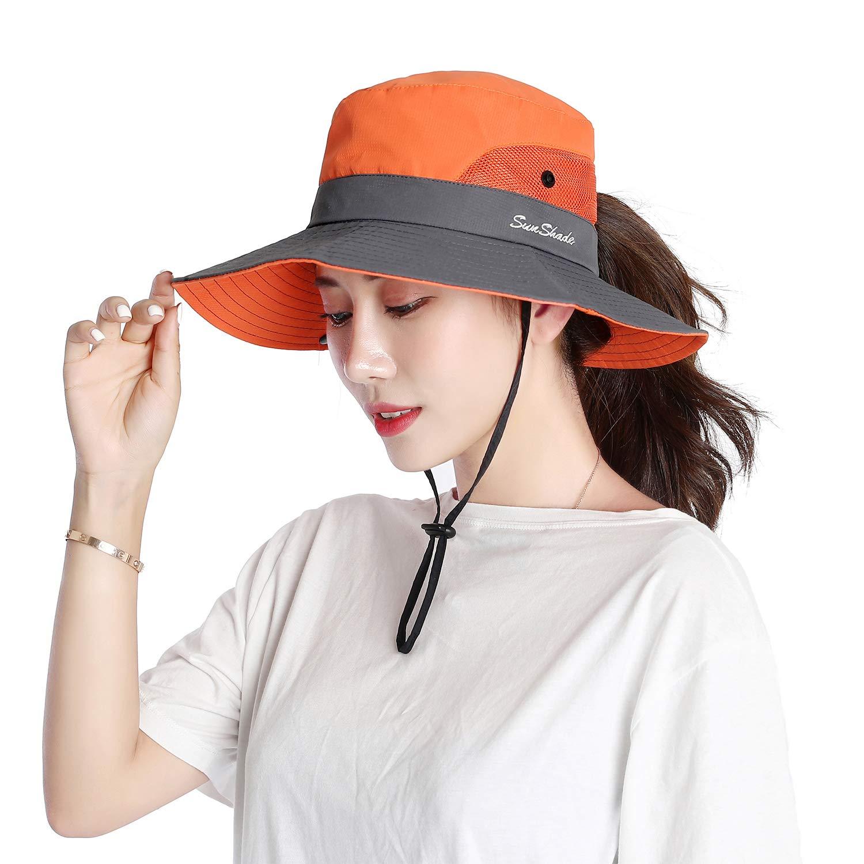 VICSPORT Femmes Chapeau De Soleil Large Bord Seau Mesh Boonie Chapeaux P/êche en Plein Air Protection UV