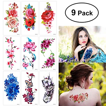16fe96cef Image Unavailable. Image not available for. Color: ULTNICE ULTNICE 9 Sheets Temporary  Tattoo Rose Peony Flower Butterfly Lotus Cherry Blossoms Flash ...