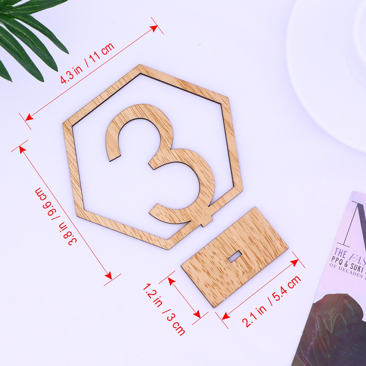 OULII 1-20 Hexagon Wooden Table Numbers with Holder Base for Wedding Birthday Engagement Decoration 20pcs by OULII (Image #6)