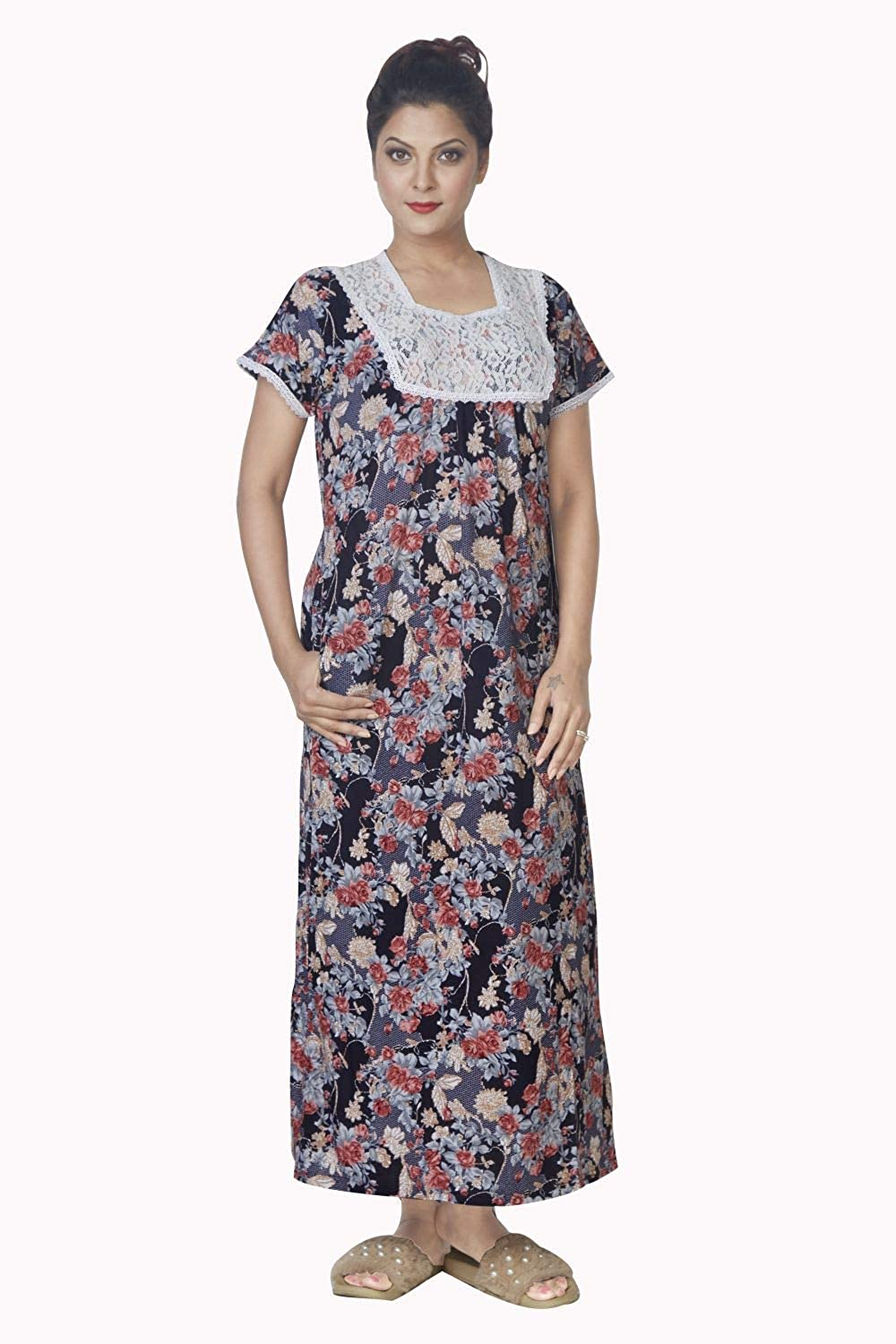 73886fce1e IMJI Nightwear Blue Floral Printed Long Nighty with Pocket for Women:  Amazon.in: Clothing & Accessories