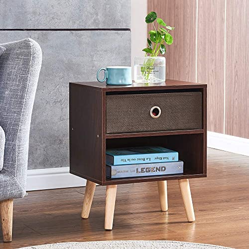 HomeSailing Pair of 2 Modern Nightstand Beside Table Storage Cabinet with Drawers Solid Wood Bedroom Small Simple Organize Cabinet Drawer Hallway Pack of 2