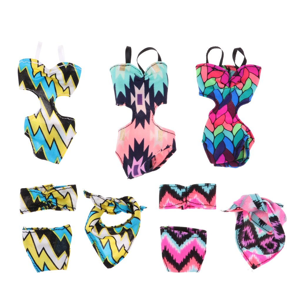 D DOLITY 5 Set Trendy Swimsuit Underwear Set Dolls Siamese Swimwear Bikini Bathing Suits For Dress Up