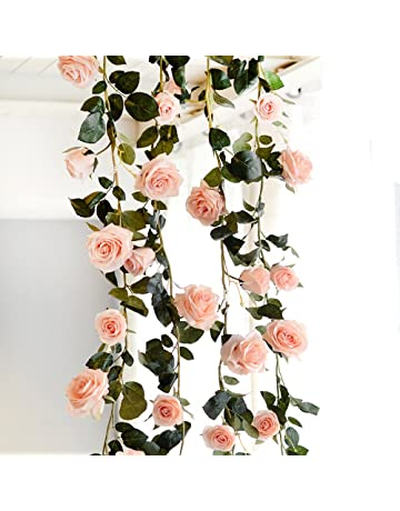 0c7bad42cc50 Yunhigh Artificial Silk Pink Rose Flower Ivy Vine Fake Hanging Plant Leaves  Garland for Wedding Party