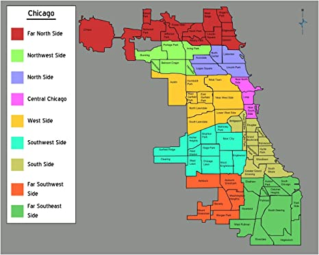 Gifts Delight Laminated 27x22 Poster: Chicago Neighborhoods map