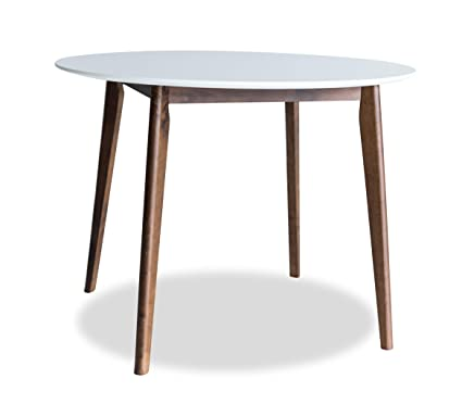 Edloe Finch MidCentury Modern Round Dining Table 40 inch Diameter White Top