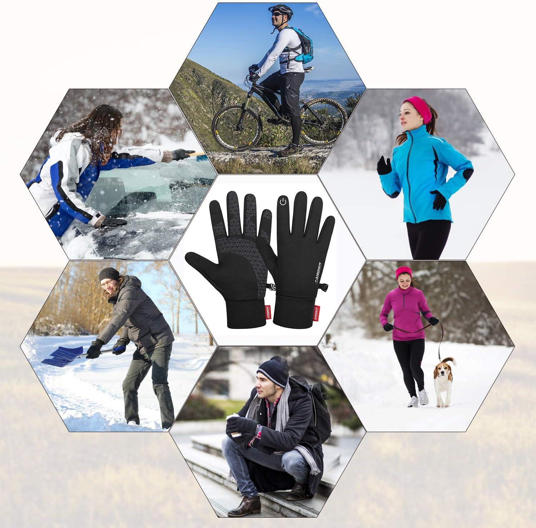 Anqier Handschuhe Herren Warme Winterhandschuhe Fahrradhandschuhe Touchscreen Handschuhe Damen Winddichte Laufhandschuhe rutschfeste Sporthandschuhe f/ür Laufen Radfahren Winter Fr/ühling Herbst