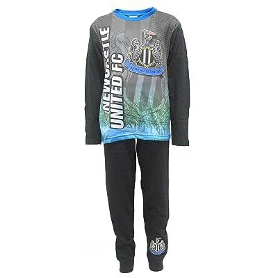 Boys Kids Newcastle United Pyjamas PJs Nightwear 4 to 12 Years Long Sleeve Black