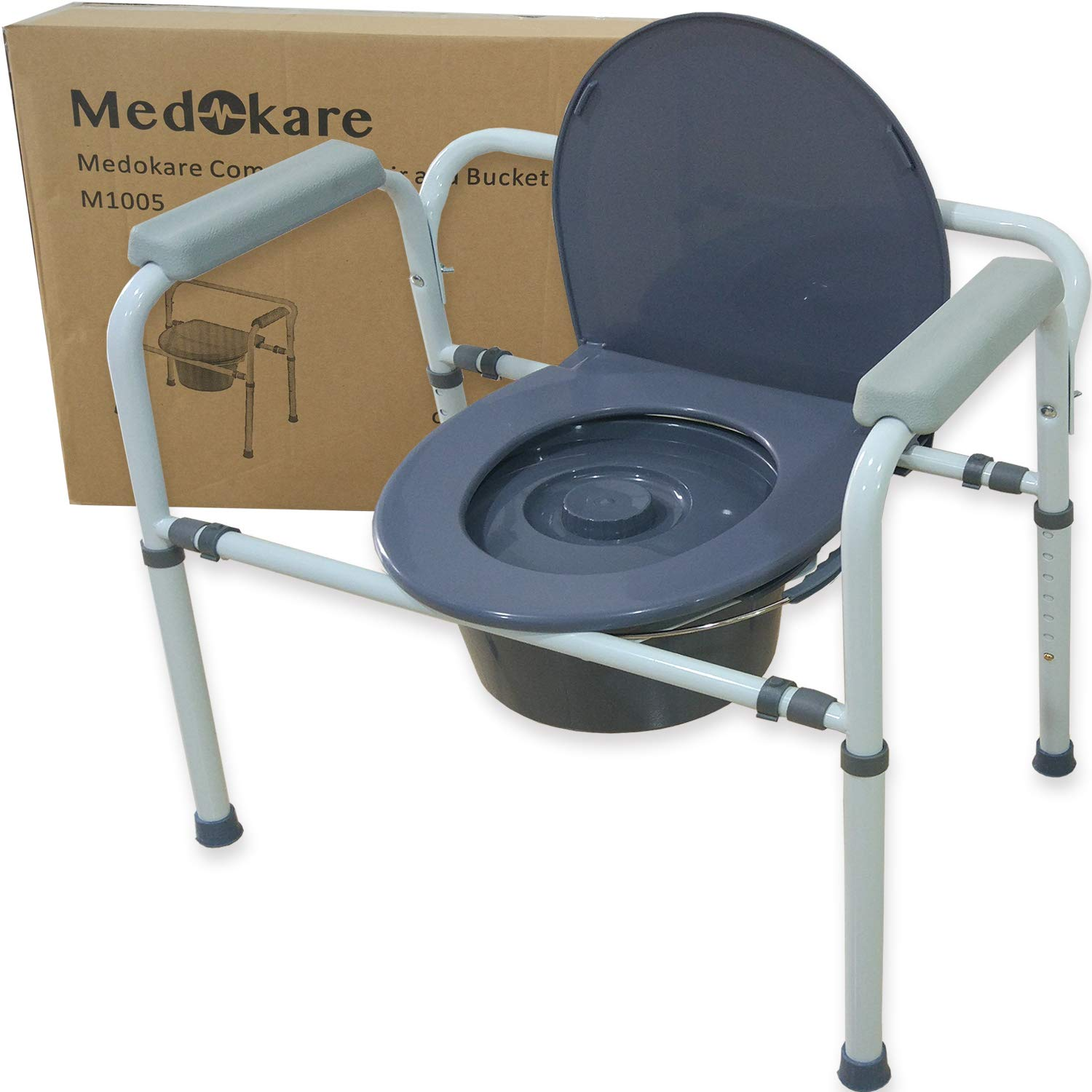 Medokare Bedside Commode Chair - Heavy-Duty Steel Commode Seat, Bedside Potty Chair for Adults, Medical Handicap Toilet Seat with Handles and Bucket by Medokare