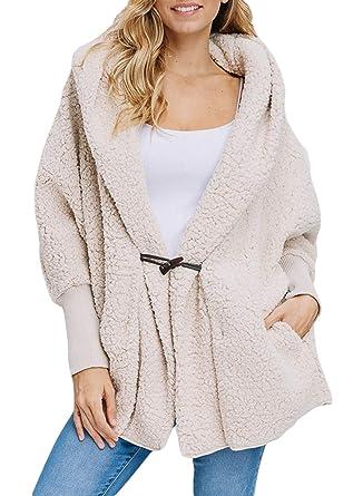 6843057fde Happy Sailed Women Button Lapel Hooded Faux Fuzzy Shearling Fleece Open  Front Warm Oversized Jackets Coat