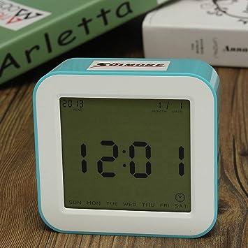 SOLMORE LED-Reloj despertador electrónico Digital pantalla LCD luminosa práctica Decoración para dormitorio, salón, cocina, de oficina, ...