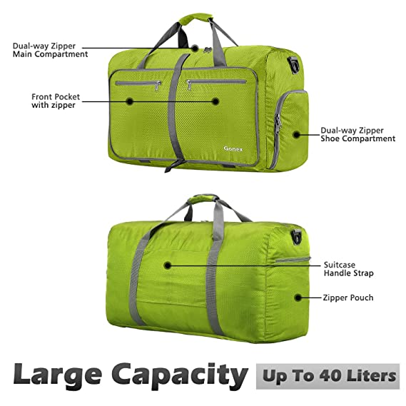 Gonex 40L Packable Travel Duffle Bag, Great Boarding Bag Lightweight Water  Repellent   Tear Resistant 40L Yellowish Green, Running - Amazon Canada 29bb1748cd
