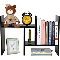 PAG Adjustable Desktop Bookshelf Assembled Countertop Bookcase Office Supplies Wood Desk Organizer Literature Display Rack, Black