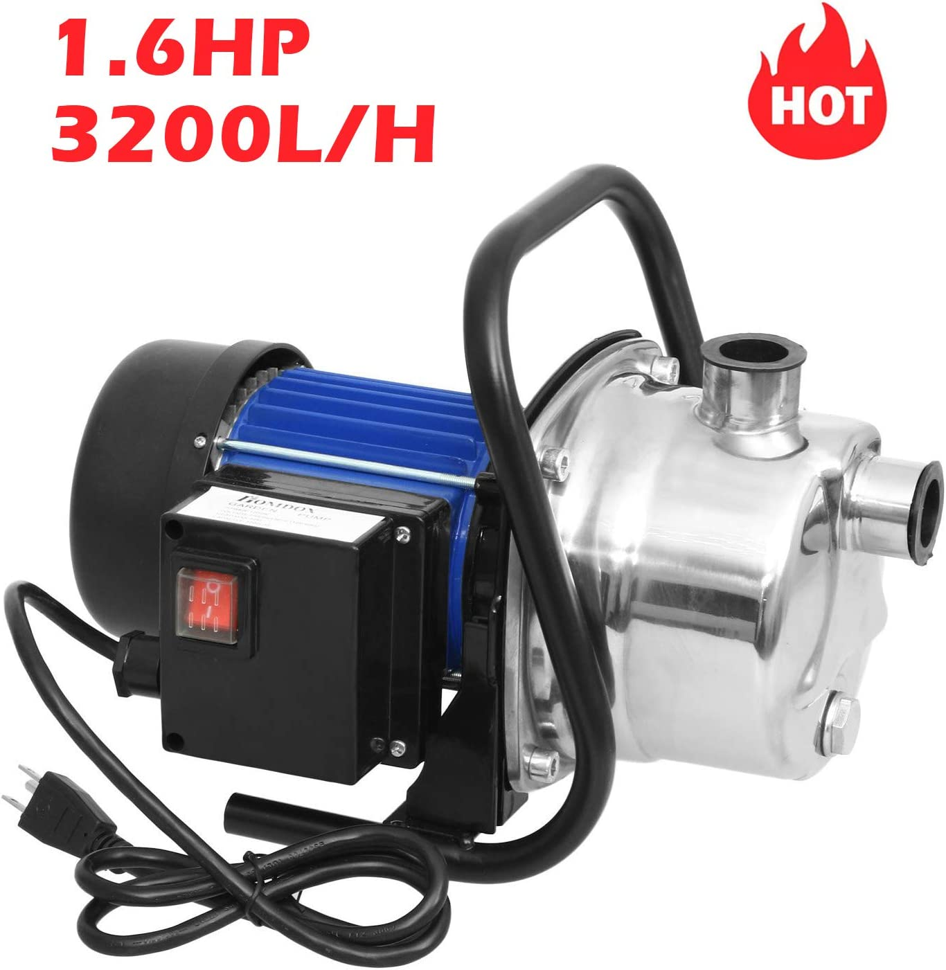 Homdox 1.6HP Stainless Shallow Well Pump Booster Pump Lawn Sprinkling Pump Sprinkler Water Pump for Home Garden Water Transport Irrigation 71FGUuOpHgLSL1500_