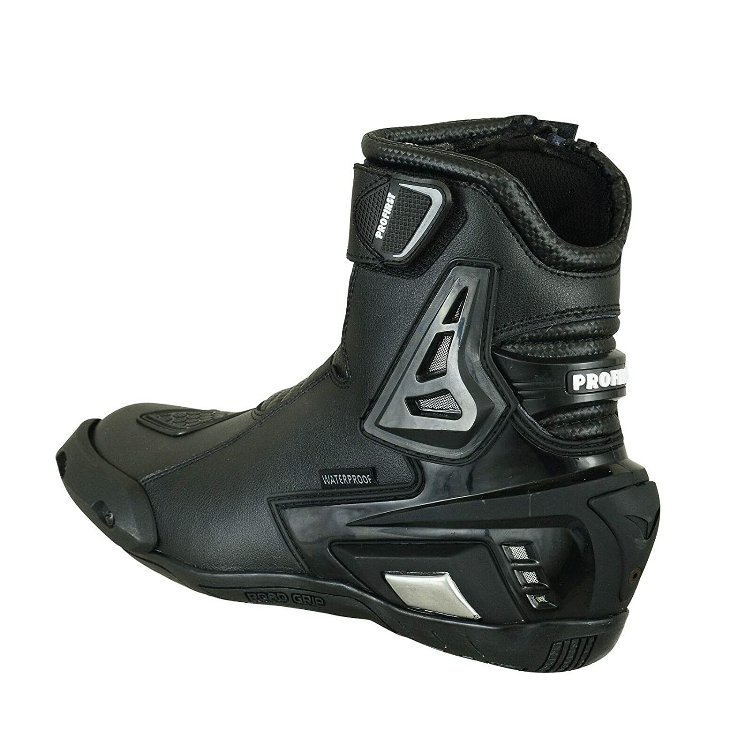 Pro First Genuine Leather Motorbike Armoured Boots Motorcycle Short Ankle Protection Boot Shoes Anti Slip Racing Sports UK 7//EU 41 Full Black