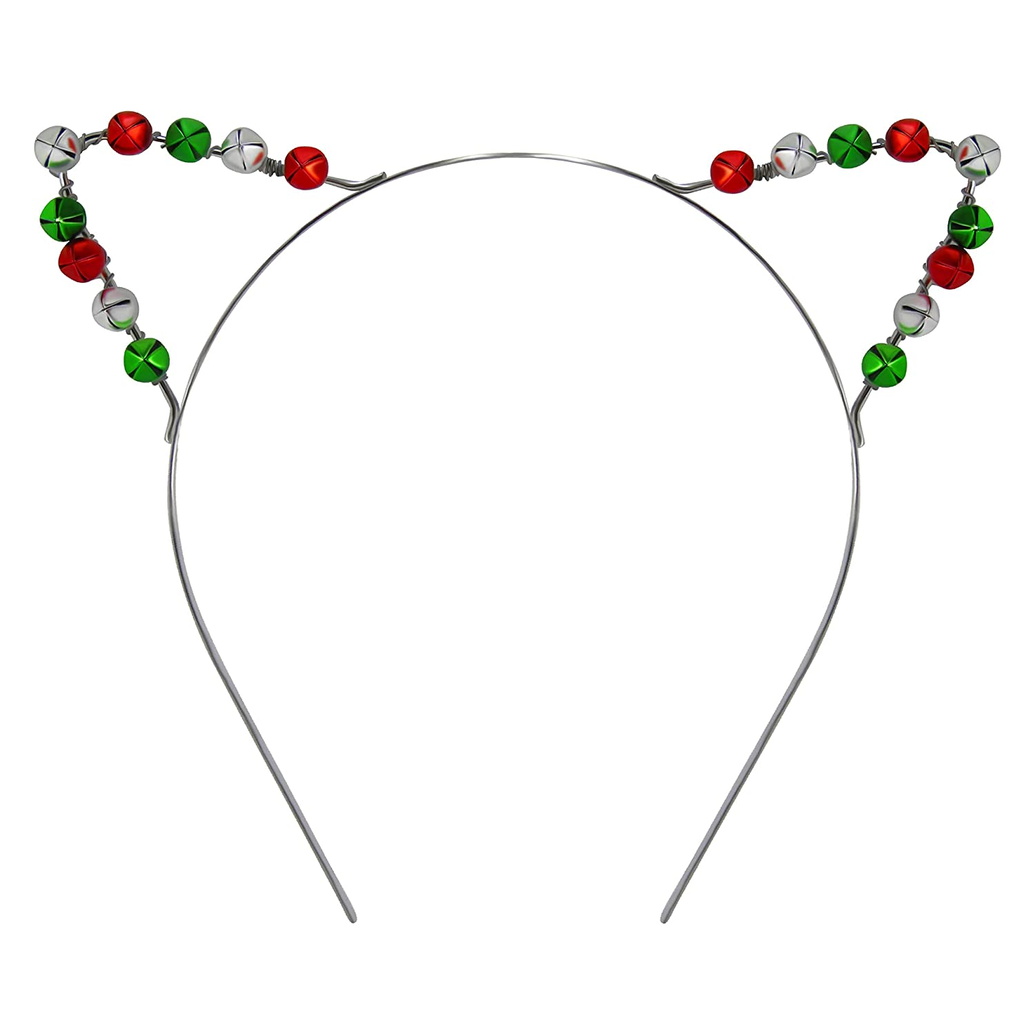 Lux Accessories Silver Tone Red Green Bells Cat Ears Christmas Holiday Headband