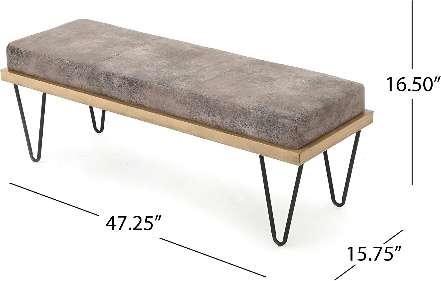 Christopher Knight Home Elisha Industrial Modern Microfiber Bench, Greyish Brown / Matte Black