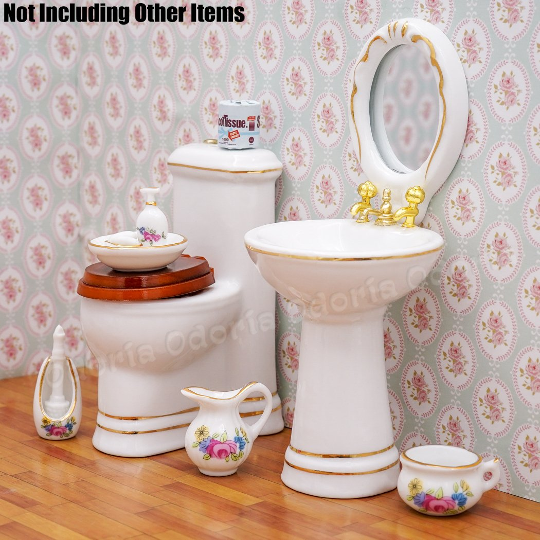 1:12 Dollhouse Bathroom Accessory Set Floral Ceramic Soap Dish Toothbrus 8PCS