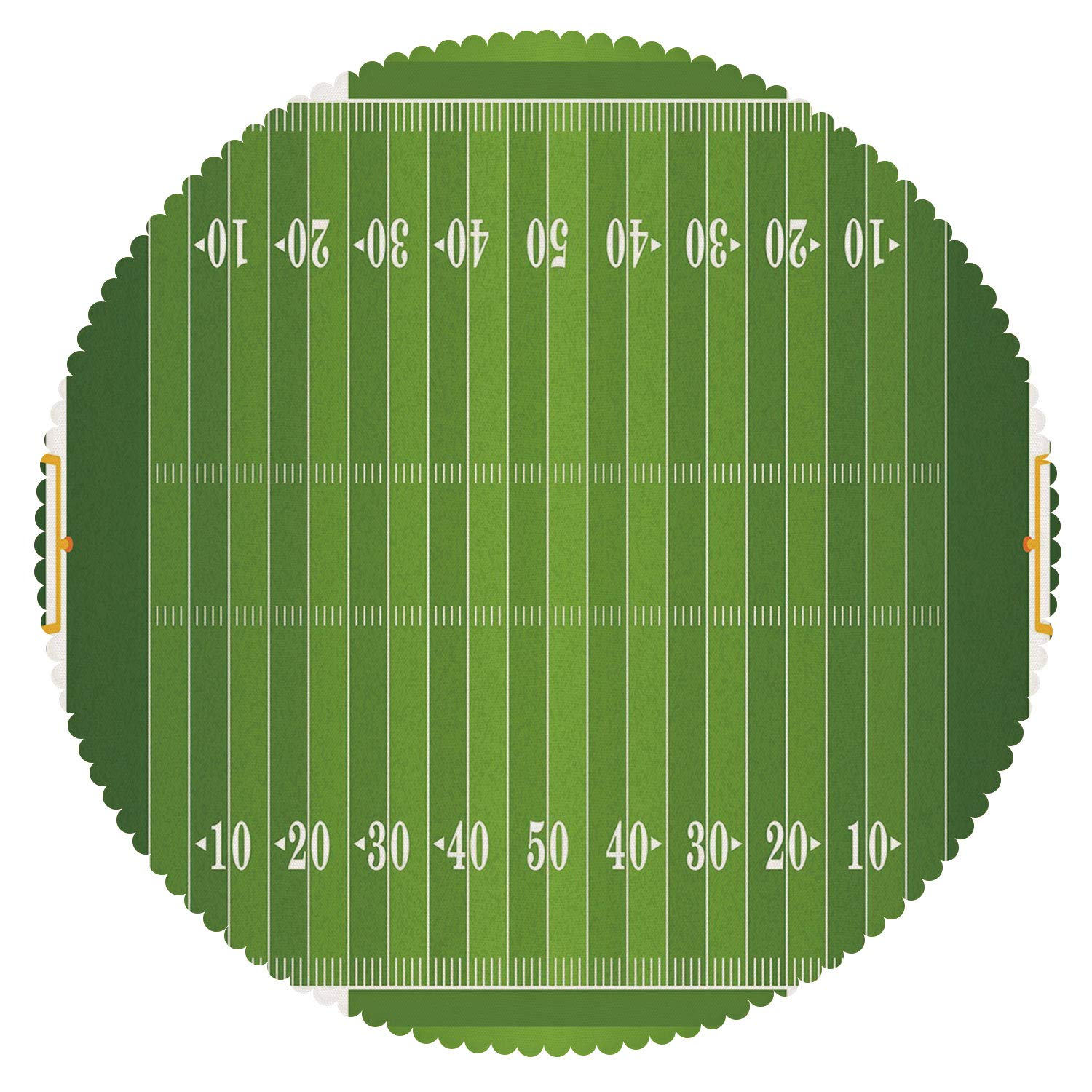 Upscale Round Tablecloth [ Football,Sports Field in Green Gridiron Yard Competitive Games College Teamwork Superbowl,Green White ] Home Accessories Set