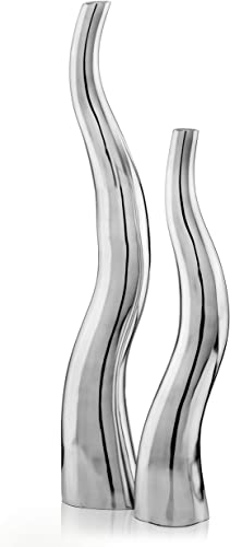 Modern Day Accents Curva Tall Set of 2, Silver, Aluminum, Contemporary, Modern, Wiggly, Popular, Glam, Floor Standing, Lg 6 32, Sm Vase 5 x 3.5 x 24