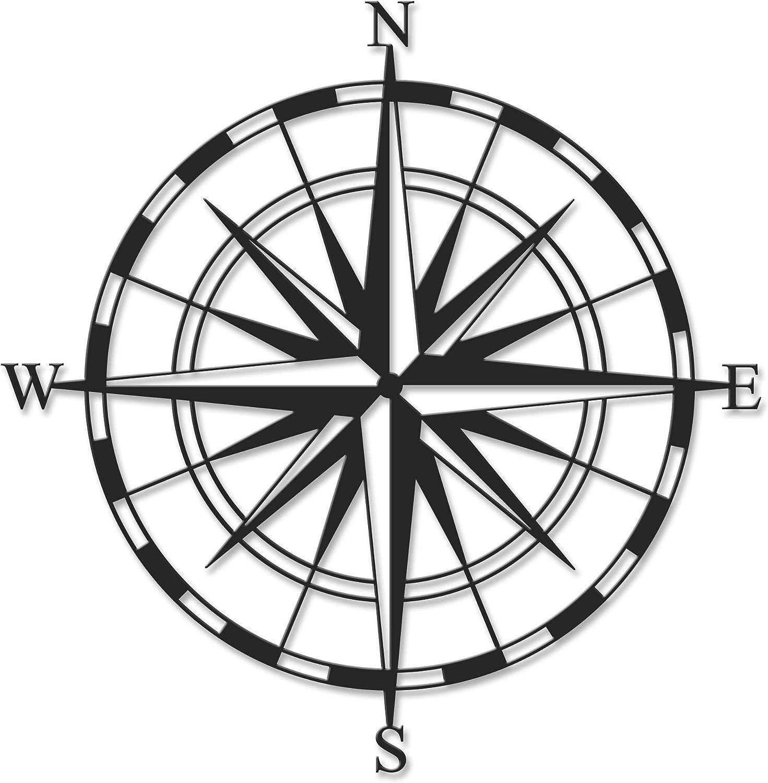 Ada Home Décor Compass Metal Wall Art 17.72'' x 17.72'' Black