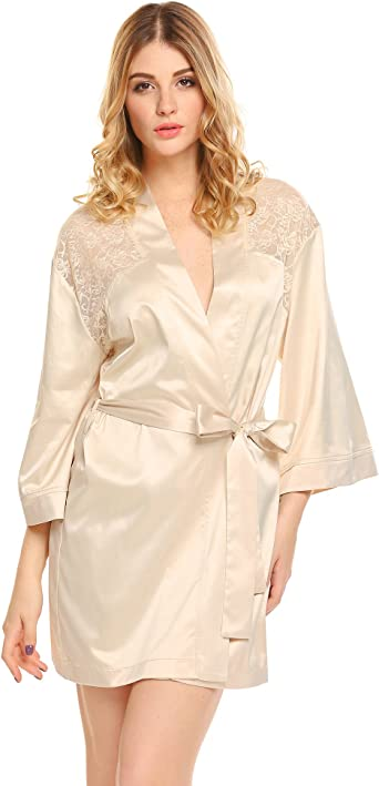 Glatt Damen Morgenmantel Spitze Bademantel Kimono Negligee Nachtwäsche Dessous