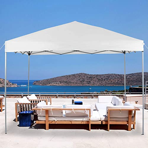 LAKE TRAIL 10 x10 Striaght Leg UV Block Sun Shade Canopy with Hardware Kits, Shade for Patio Outdoor Garden Events, White