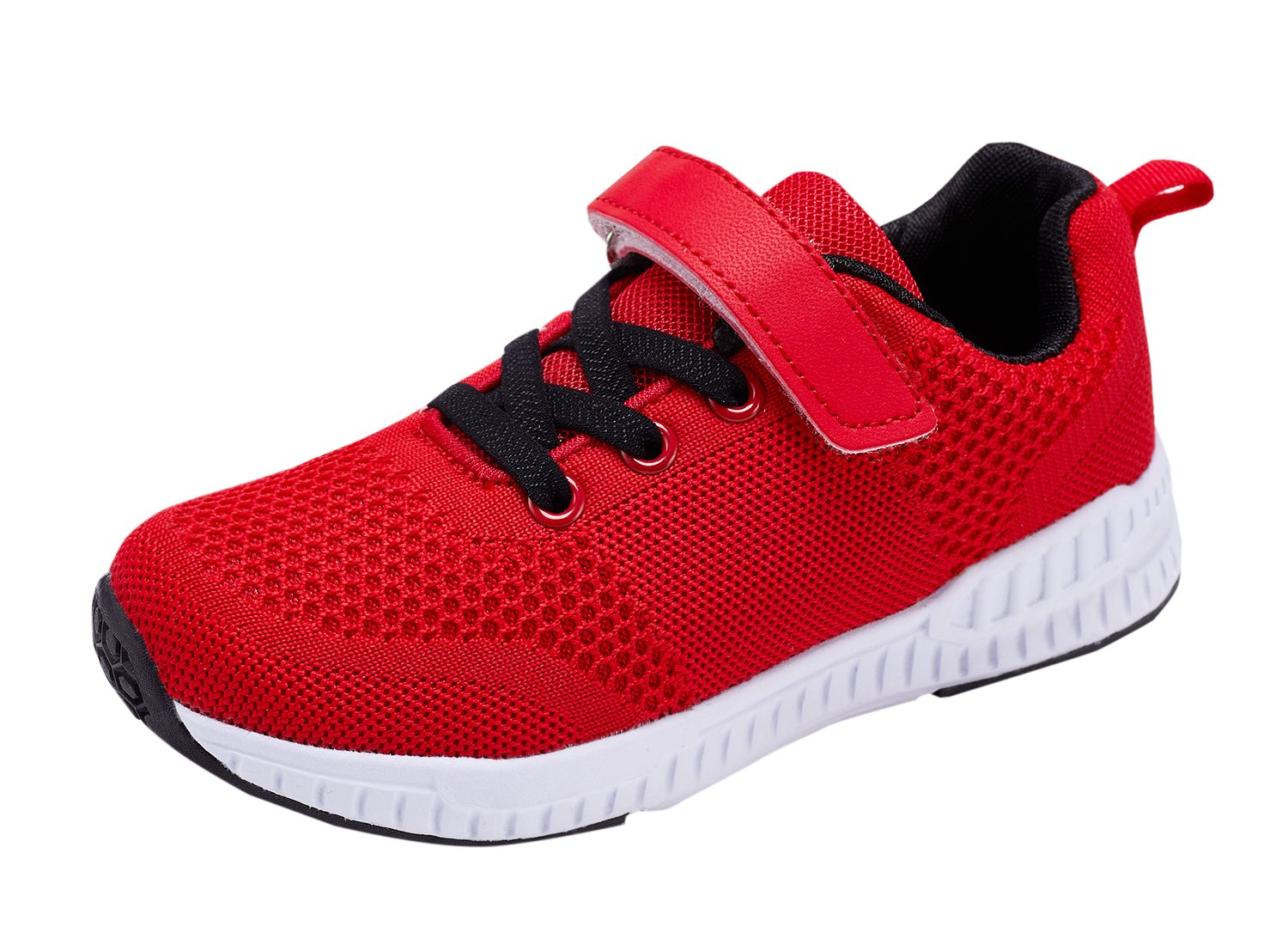 Casbeam Toddler Kids Velcro Sneakers Boys and Girls Walking Running Shoes Red 28