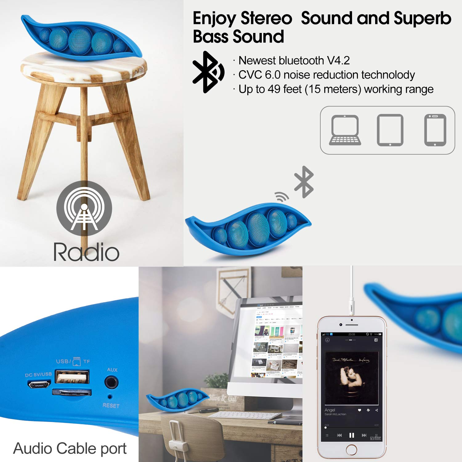 Bluetooth Speaker with Superior Stereo Sound, Exclusive Pea Appearance, 5-Watts, 24-Hour Playtime, Perfect Wireless Speaker for Home (Blue)
