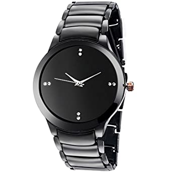MS ENTERPRISE Analogue Watch For Men Black Dial Stainless Steel Metal Strap Stylish Analog Watches