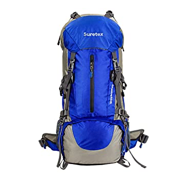 2c50c1867f94 Suretex 50L-60L Waterproof Outdoor Sport Hiking Trekking Camping Travel  Backpack Pack Mountaineering Climbing Knapsack Rain Cover (Blue